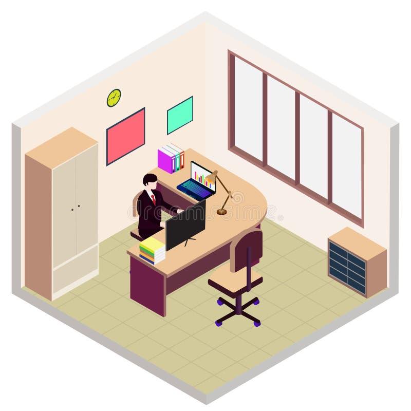 Isometric εικονίδιο δωματίων γραφείων διευθυντή ελεύθερη απεικόνιση δικαιώματος