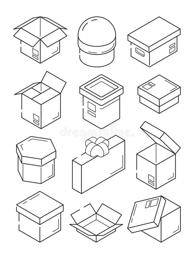 Isometric εικονίδιο κιβωτίων Μικρό παρόν εμπορευματοκιβωτίων συσκευασίας εξαγωγής χαρτονιού με τα διανυσματικά σύμβολα περιλήψεων διανυσματική απεικόνιση