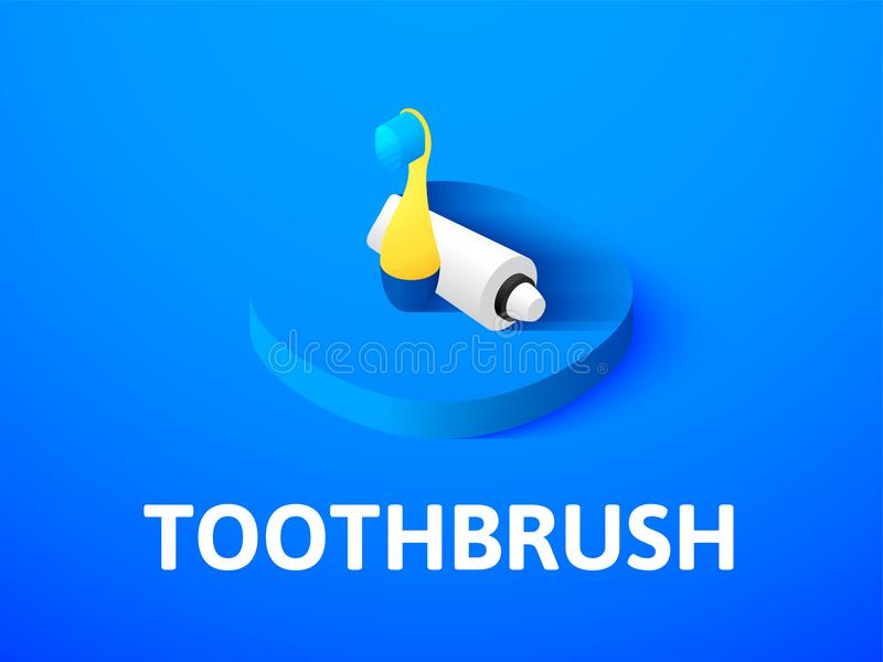 Isometric εικονίδιο οδοντοβουρτσών, που απομονώνεται στο υπόβαθρο χρώματος ελεύθερη απεικόνιση δικαιώματος
