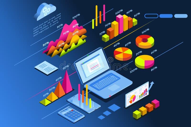 Isometric εικονίδιο προγραμματισμού επένδυσης αρμόδιων για το σχεδιασμό επένδυσης απεικόνιση αποθεμάτων