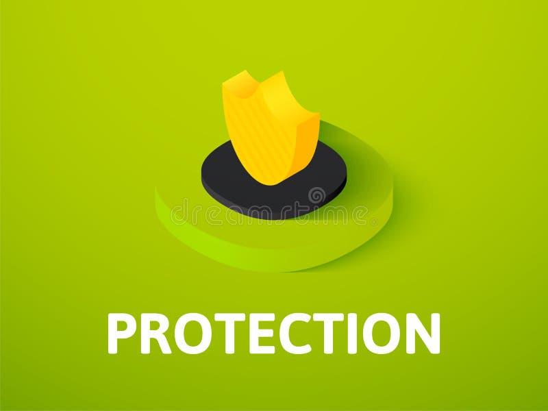 Isometric εικονίδιο προστασίας, που απομονώνεται στο υπόβαθρο χρώματος ελεύθερη απεικόνιση δικαιώματος