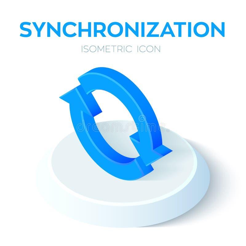 Isometric εικονίδιο συγχρονισμού τρισδιάστατο Isometric σημάδι συγχρονισμού το εικονίδιο αναζωογ&omicron Δημιουργημένος για κινητ διανυσματική απεικόνιση