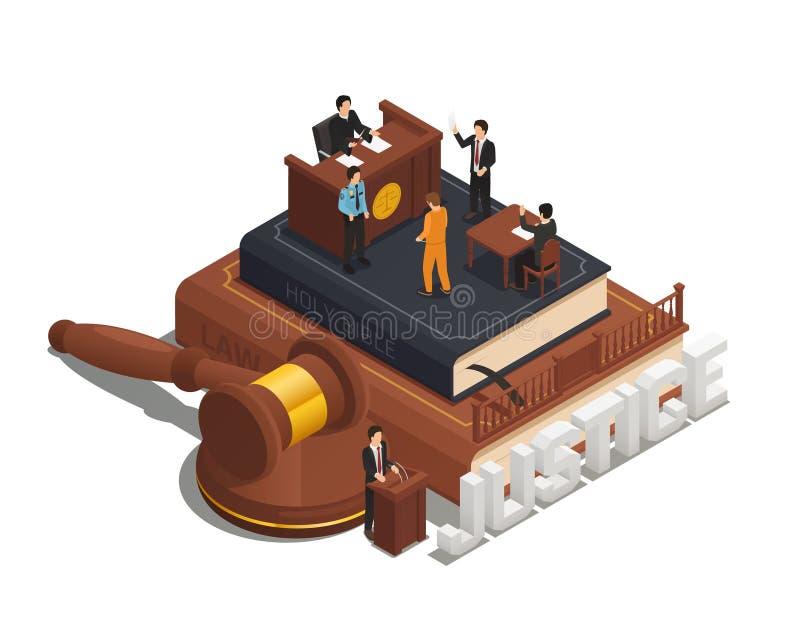 Isometric εικονίδιο σύνθεσης δικαιοσύνης νόμου ελεύθερη απεικόνιση δικαιώματος