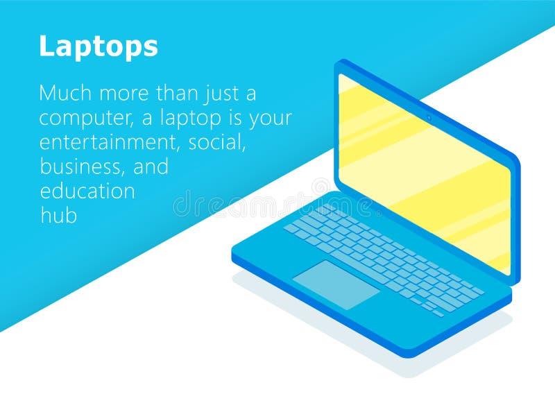 Isometric εικονίδιο lap-top Επίπεδο σχέδιο διανυσματική απεικόνιση