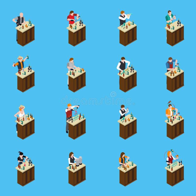 Isometric εικονίδια μπάρμαν ελεύθερη απεικόνιση δικαιώματος