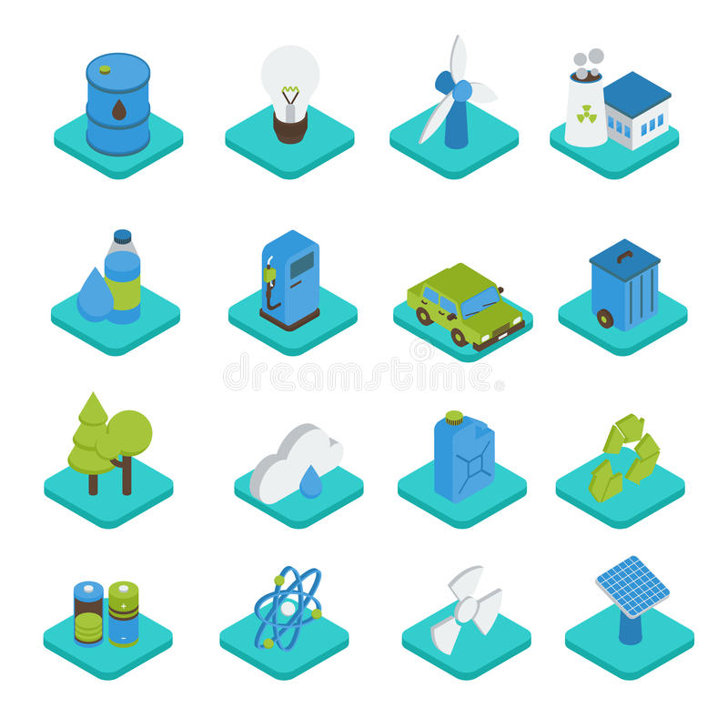 Isometric εικονίδια οικολογίας απεικόνιση αποθεμάτων
