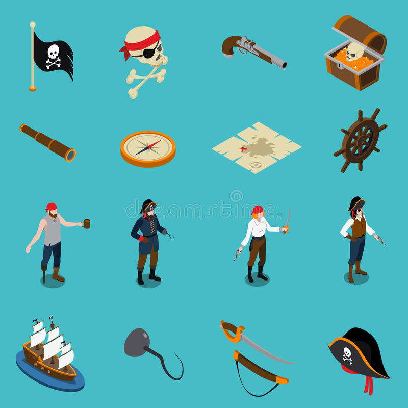 Isometric εικονίδια πειρατών ελεύθερη απεικόνιση δικαιώματος