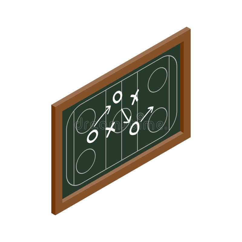 Isometric εικονίδιο πινάκων κιμωλίας στρατηγικής χόκεϋ ελεύθερη απεικόνιση δικαιώματος