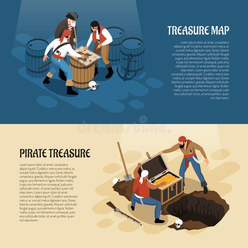 Isometric εμβλήματα πειρατών ελεύθερη απεικόνιση δικαιώματος