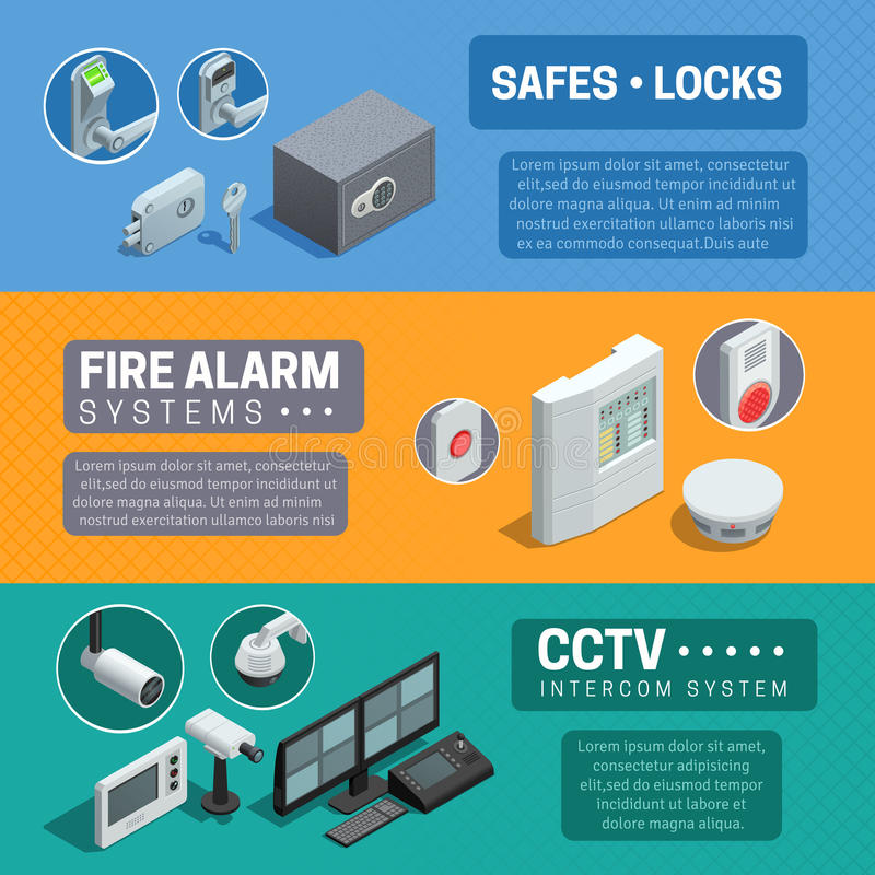 Isometric εμβλήματα εγχώριων συστημάτων ασφαλείας καθορισμένα απεικόνιση αποθεμάτων