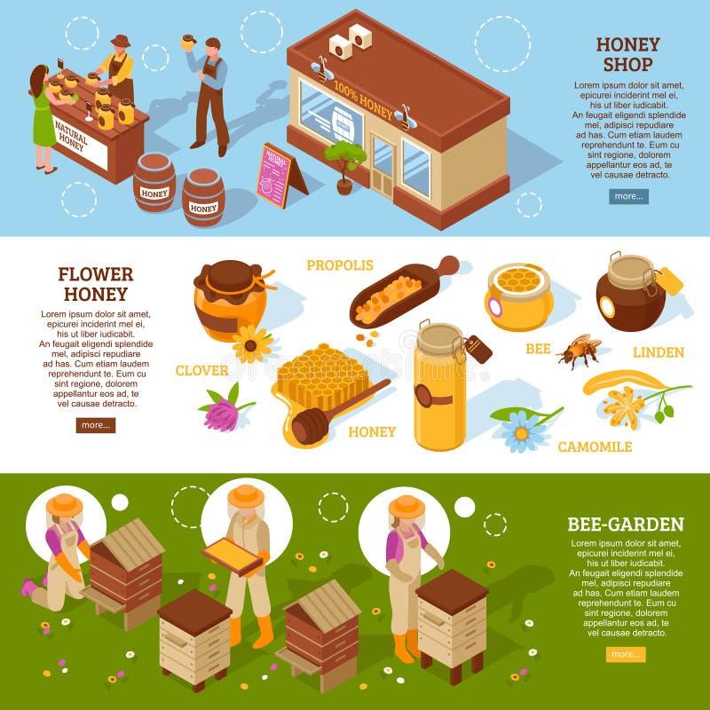 Isometric εμβλήματα κήπων μελισσών καθορισμένα ελεύθερη απεικόνιση δικαιώματος