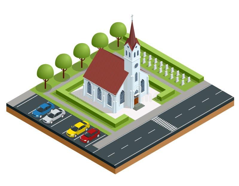 Isometric εξωτερικό μιας σύγχρονης εκκλησίας Μικρό θερινό τοπίο εκκλησιών Διανυσματική απεικόνιση για την αρχιτεκτονική θρησκείας απεικόνιση αποθεμάτων