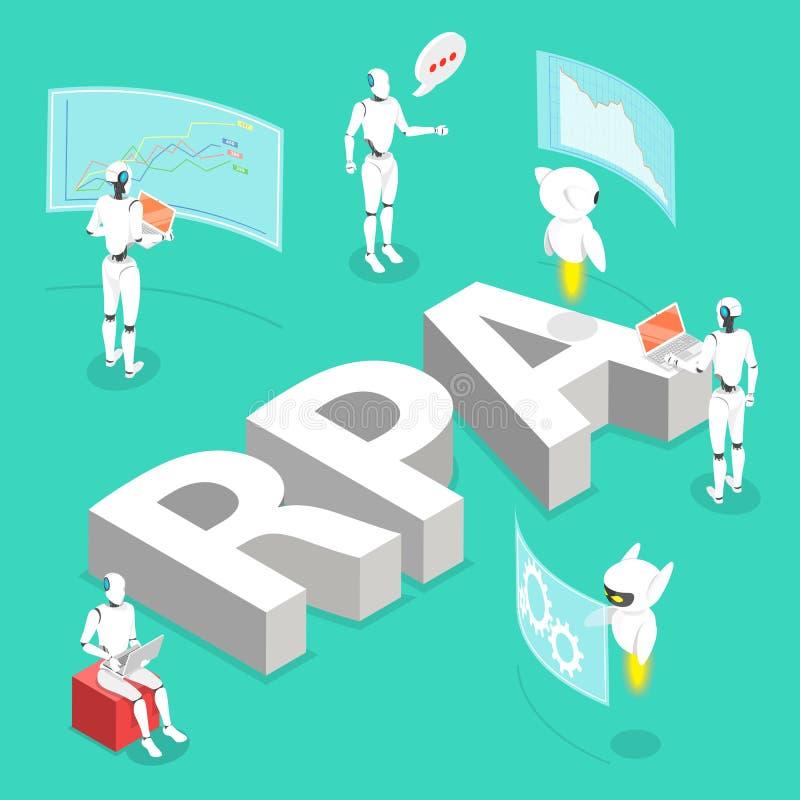 Isometric επίπεδη διανυσματική έννοια της ρομποτικής αυτοματοποίησης διαδικασίας, RPA, AI ελεύθερη απεικόνιση δικαιώματος