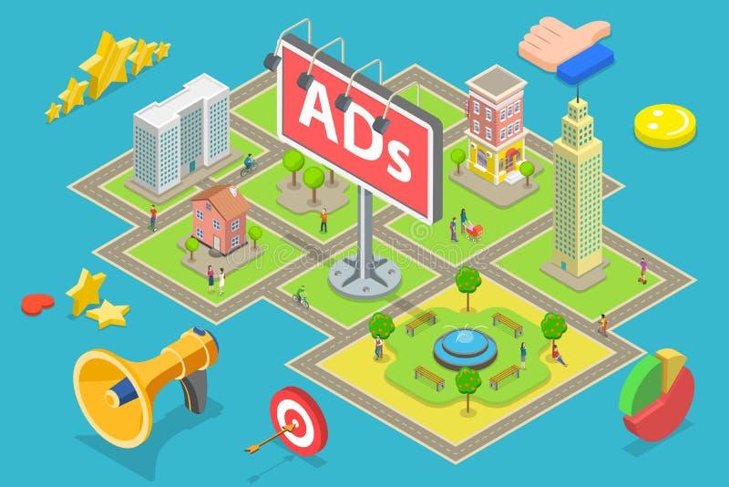 Isometric επίπεδη διανυσματική έννοια της υπαίθριας διαφήμισης, πίνακες διαφημίσεων διαφημίσεων ελεύθερη απεικόνιση δικαιώματος