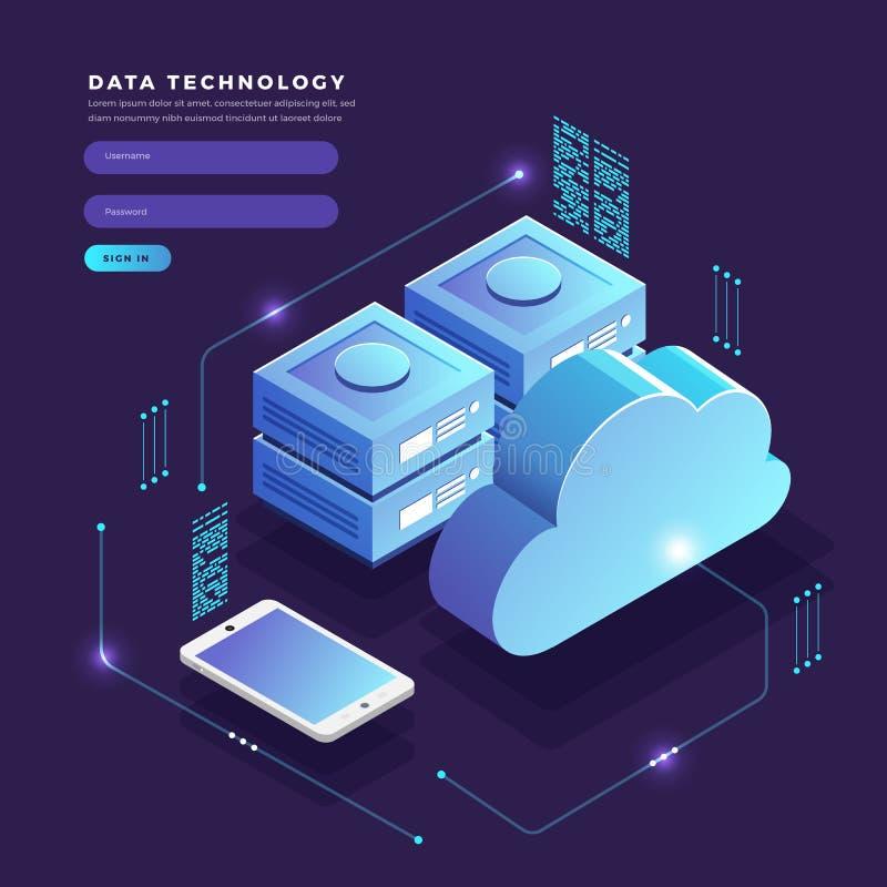 Isometric επίπεδη μεταφορά δεδομένων τεχνολογίας σύννεφων έννοιας σχεδίου και ελεύθερη απεικόνιση δικαιώματος