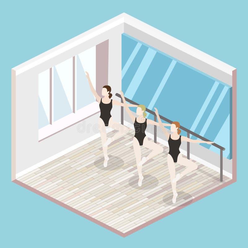 Isometric επίπεδη τρισδιάστατη απομονωμένη διανυσματική χορός-αίθουσα κατάρτισης σακακιών εσωτερική κενή απεικόνιση αποθεμάτων