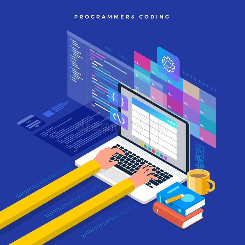 Isometric επίπεδος προγραμματιστής και κωδικοποίηση έννοιας σχεδίου Διανυσματικό illu απεικόνιση αποθεμάτων
