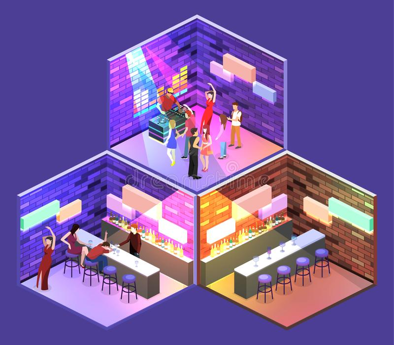 Isometric επίπεδος φραγμός σακακιών 3Dconcept στο νυχτερινό κέντρο διασκέδασης ελεύθερη απεικόνιση δικαιώματος