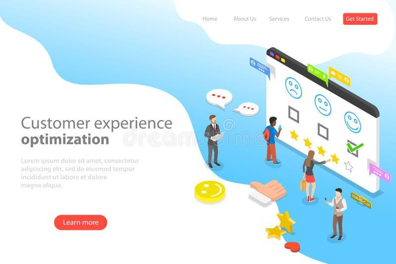 Isometric επίπεδο διανυσματικό προσγειωμένος πρότυπο σελίδων της βελτιστοποίησης εμπειρίας πελατών απεικόνιση αποθεμάτων
