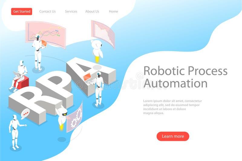 Isometric επίπεδο διανυσματικό προσγειωμένος πρότυπο σελίδων της ρομποτικής αυτοματοποίησης διαδικασίας διανυσματική απεικόνιση