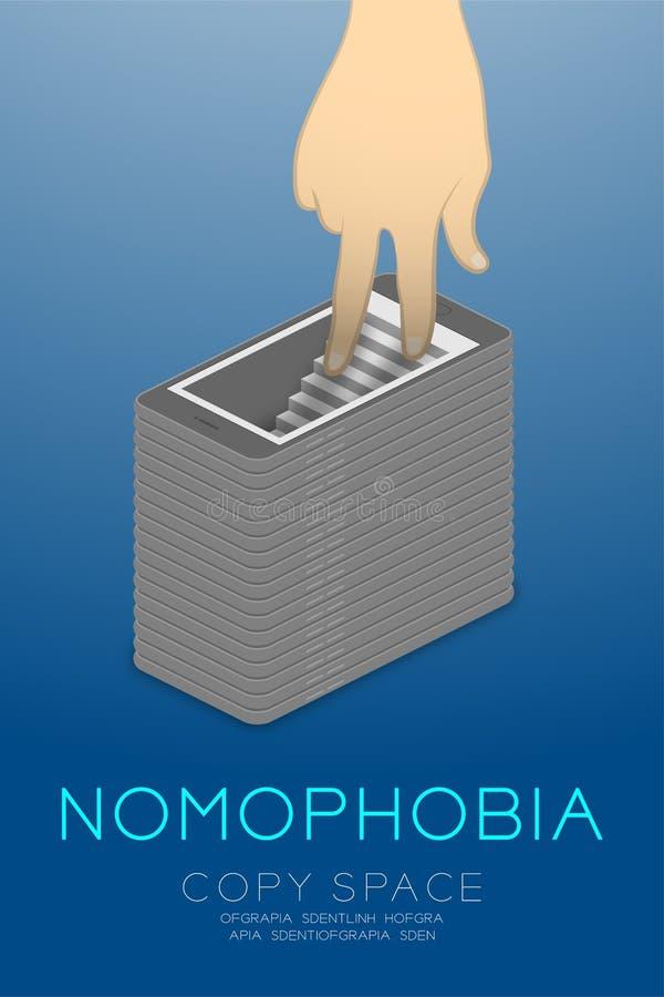 Isometric επίπεδο σχέδιο έννοιας εθισμού smartphone συνδρόμου Nomophobia, δάχτυλο χεριών που περπατά στην απεικόνιση smartphone π απεικόνιση αποθεμάτων