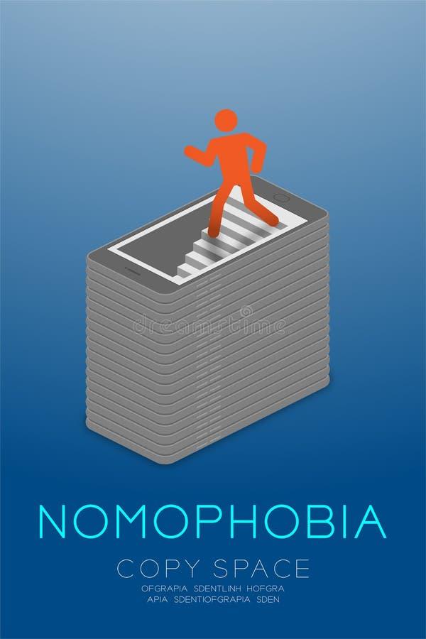 Isometric επίπεδο σχέδιο έννοιας εθισμού smartphone συνδρόμου Nomophobia, κόκκινο χρώμα εικονιδίων ατόμων εικονογραμμάτων που περ απεικόνιση αποθεμάτων
