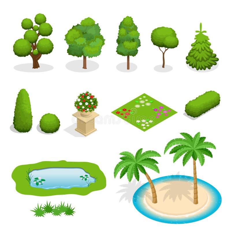 Isometric επίπεδα διανυσματικά στοιχεία δέντρων για το σχέδιο τοπίων Ποικιλομορφία του συνόλου δέντρων στο λευκό Δέντρα, θάμνοι,  διανυσματική απεικόνιση