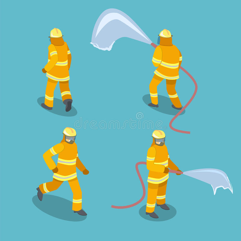 Isometric επίπεδοι τρισδιάστατοι απομονωμένοι πυροσβέστες σακακιών στη δράση διανυσματική απεικόνιση