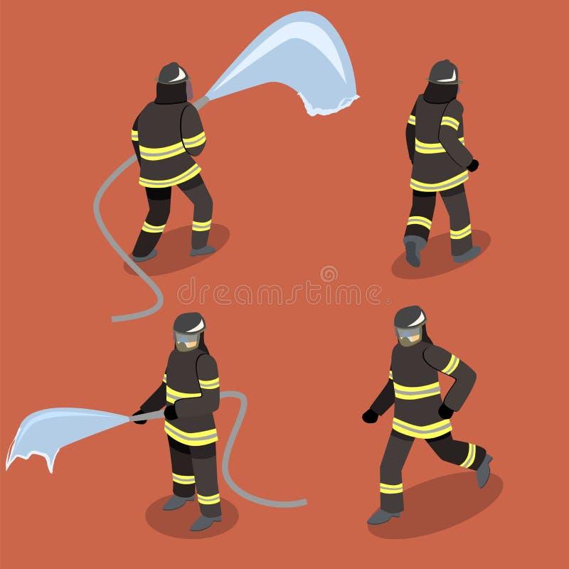 Isometric επίπεδοι τρισδιάστατοι απομονωμένοι πυροσβέστες σακακιών στη δράση ελεύθερη απεικόνιση δικαιώματος