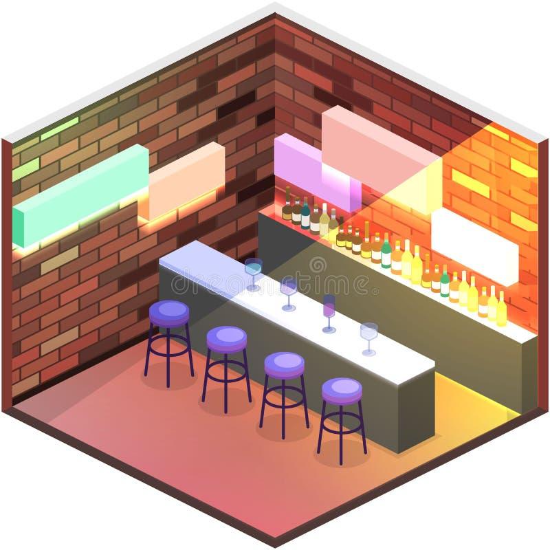 Isometric επίπεδος τρισδιάστατος απομονωμένος φραγμός σακακιών έννοιας στο νυχτερινό κέντρο διασκέδασης ελεύθερη απεικόνιση δικαιώματος