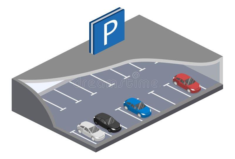 Isometric επίπεδος τρισδιάστατος υπόγειος χώρος στάθμευσης έννοιας με τα αυτοκίνητα απεικόνιση αποθεμάτων