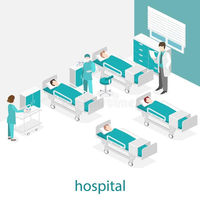 Isometric επίπεδο εσωτερικό του δωματίου νοσοκομείων Γιατροί που θεραπεύουν τον ασθενή ελεύθερη απεικόνιση δικαιώματος