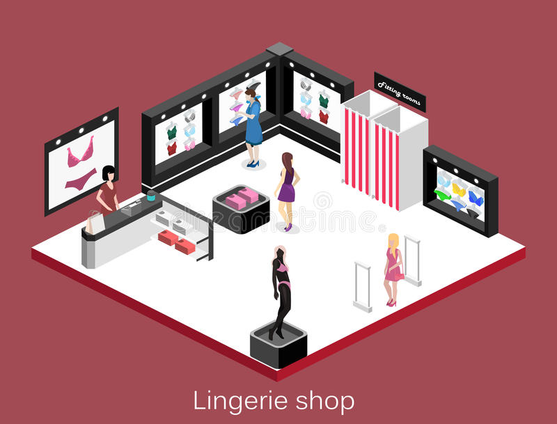 Isometric επίπεδο τρισδιάστατο απομονωμένο lingerie σακακιών έννοιας εσωτερικό κατάστημα ελεύθερη απεικόνιση δικαιώματος