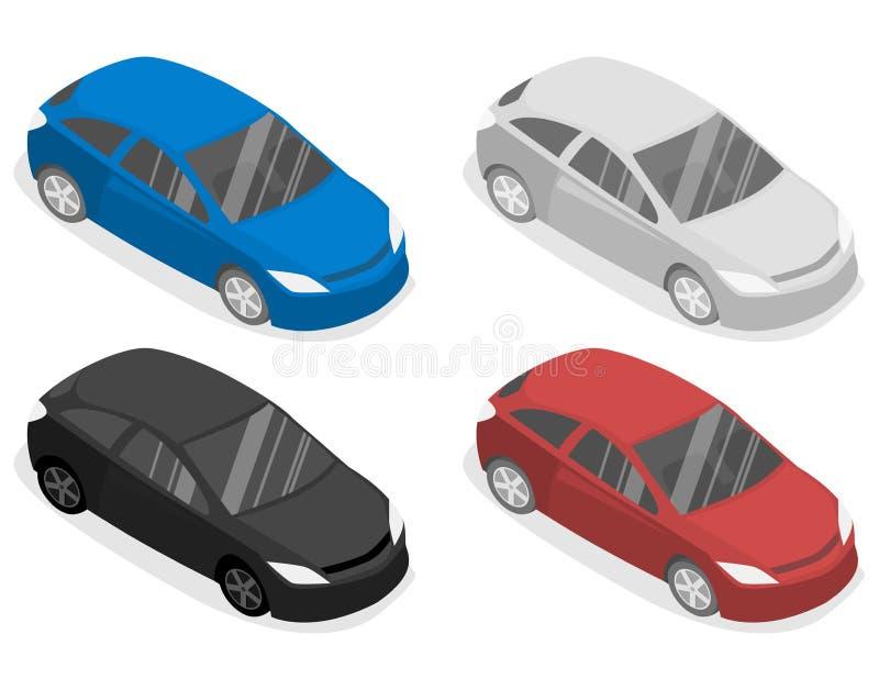 Isometric επίπεδο τρισδιάστατο αυτοκίνητο συνερχόμενη μεταφορά τραίνων σταθμών αστική απεικόνιση αποθεμάτων