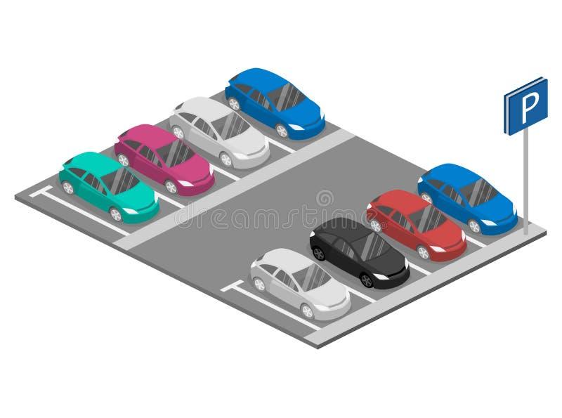 Isometric επίπεδο τρισδιάστατο αυτοκίνητο συνερχόμενη μεταφορά τραίνων σταθμών αστική Διάστημα χώρων στάθμευσης ελεύθερη απεικόνιση δικαιώματος