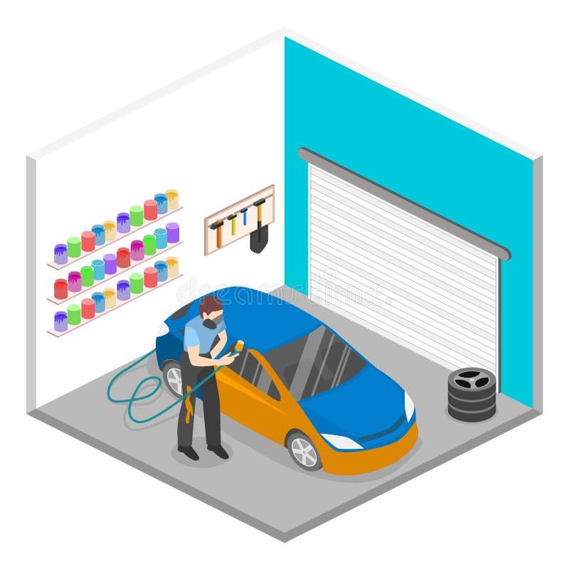 Isometric επίπεδο τρισδιάστατο γκαράζ υπηρεσιών έννοιας αυτόματο διανυσματική απεικόνιση
