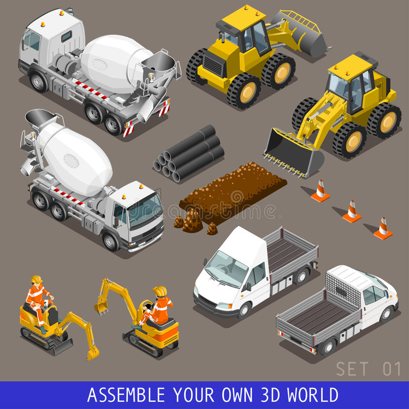 Isometric επίπεδο τρισδιάστατο σύνολο εικονιδίων μεταφορών κατασκευής πόλεων απεικόνιση αποθεμάτων