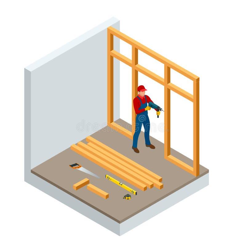 Isometric επαγγελματικοί ξυλουργοί που τρυπούν το ξύλο με τρυπάνι Βιομηχανία κτηρίου οικοδόμησης, νέο σπίτι, εσωτερικό οικοδόμηση ελεύθερη απεικόνιση δικαιώματος