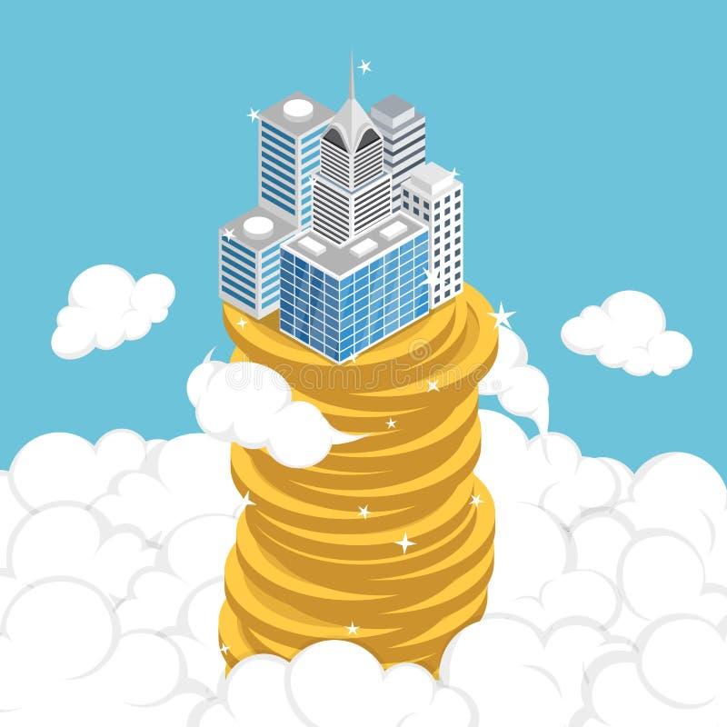 Isometric επιχείρηση που στηρίζεται στο σωρό του νομίσματος επάνω από το σύννεφο ελεύθερη απεικόνιση δικαιώματος