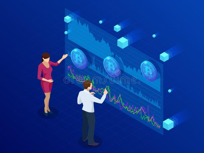 Isometric επιχειρηματίας και επιχειρηματίας που αναλύουν ένα analytics Bitcoin, ταμπλό νοημοσύνης, στοιχεία Bitcoin διαδικασιών απεικόνιση αποθεμάτων