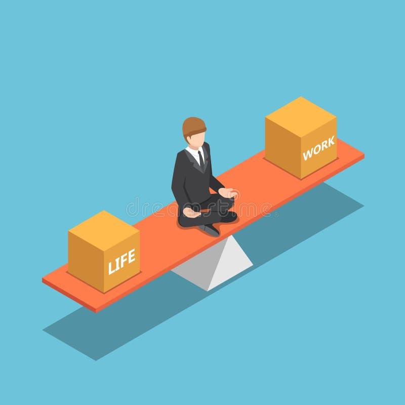Isometric επιχειρηματίας που ισορροπεί τη ζωή και την εργασία του για seesaw διανυσματική απεικόνιση