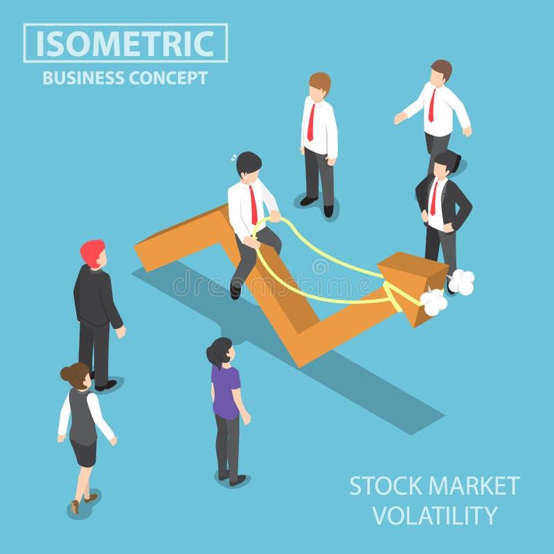Isometric επιχειρηματίας που οδηγά τη ζωηρή γραφική παράσταση χρηματιστηρίου διανυσματική απεικόνιση