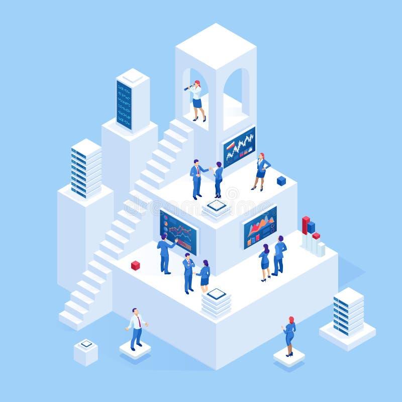 Isometric επιχειρηματίες που αναλύουν ένα οικονομικό ταμπλό με τους βασικούς δείκτες και τη επιχειρηματική κατασκοπεία απόδοσης διανυσματική απεικόνιση