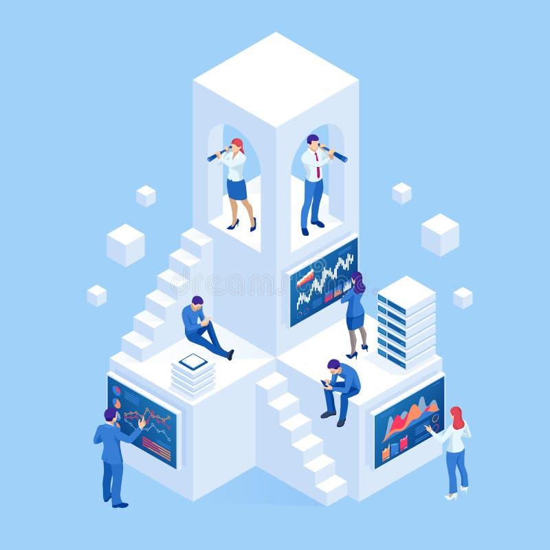 Isometric επιχειρηματίες που αναλύουν ένα οικονομικό ταμπλό με τους βασικούς δείκτες και τη επιχειρηματική κατασκοπεία απόδοσης ελεύθερη απεικόνιση δικαιώματος