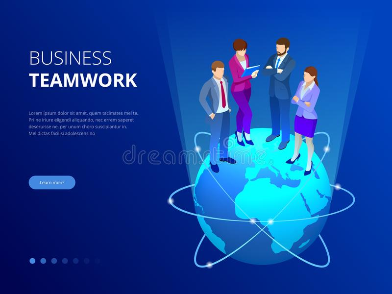 Isometric επιχειρησιακή ομάδα, έννοια επιχειρηματιών Έμβλημα Ιστού Οι επιχειρηματίες στέκονται σε μια παγκόσμια σφαίρα ιδέες νέες απεικόνιση αποθεμάτων