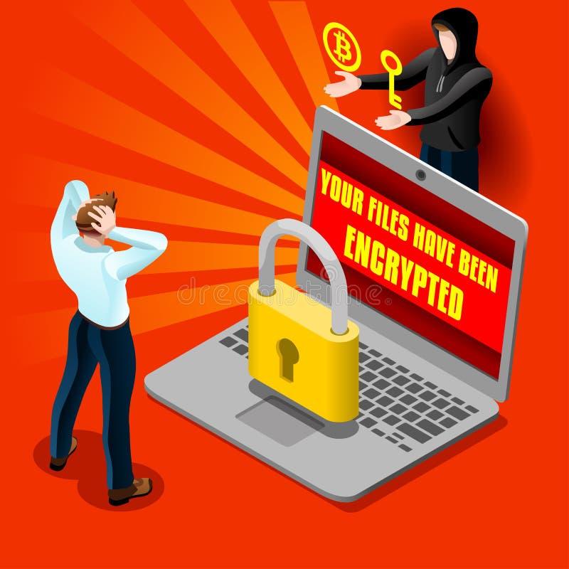 Isometric λεπτομερές διάνυσμα ηλεκτρονικού ταχυδρομείου Malware επίθεσης υπολογιστών Cyber διανυσματική απεικόνιση