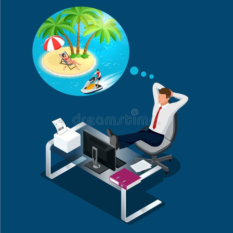 Isometric εργαζόμενος ή επιχειρηματίας γραφείων στα όνειρα εργασιακών χώρων του υπολοίπου, των διακοπών και του ταξιδιού Ένα σπάσ ελεύθερη απεικόνιση δικαιώματος
