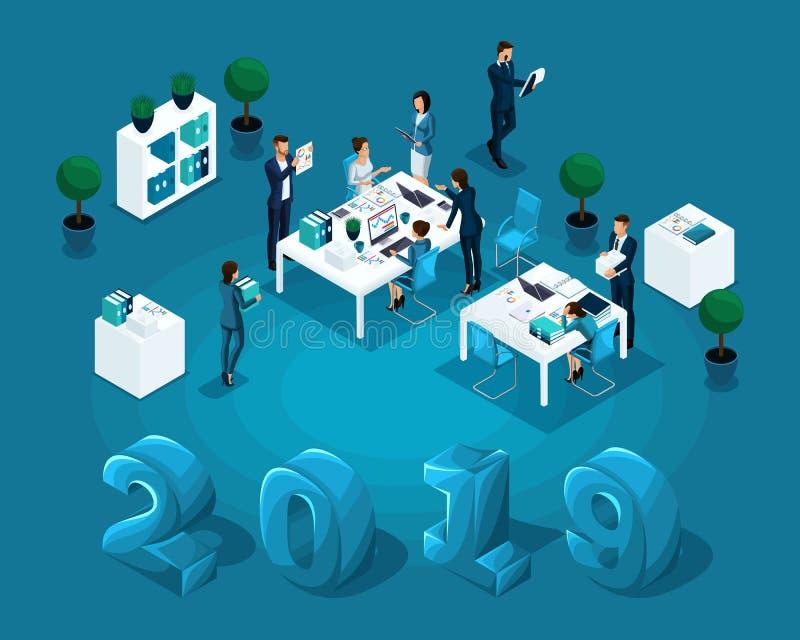 Isometric εργασία γραφείων επιχειρησιακής έννοιας, λογιστική, εργάσιμη ημέρα, ελεγκτής, απεικόνιση για το ημερολόγιο 2019 ελεύθερη απεικόνιση δικαιώματος