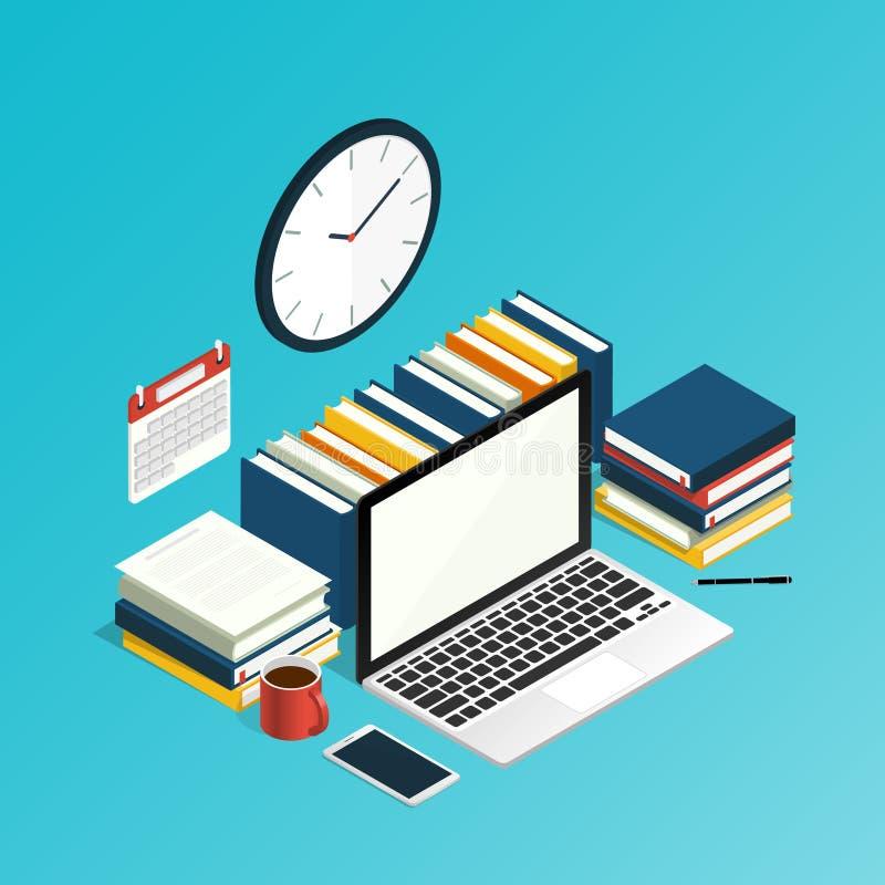 Isometric εργασία γραφείων υπολογιστών χώρου εργασίας, ερευνητικό διάνυσμα εκπαίδευσης διανυσματική απεικόνιση