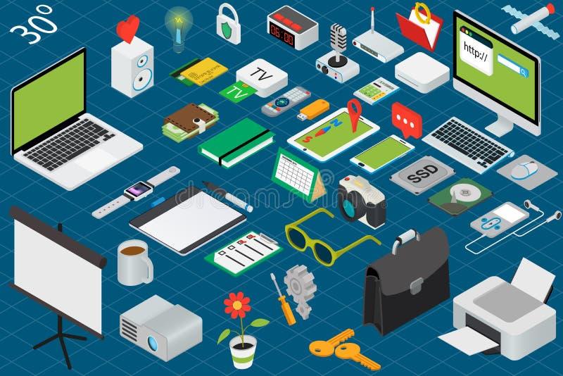 Isometric εργασιακός χώρος γραφείων απεικόνιση αποθεμάτων